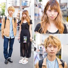 19-year-old Japanese students Akira and Kudeken on the street in Harajuku wearing fashion from Uniqlo, Fig&Viper, Dr. Martens and American Apparel.