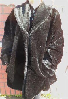 Vintage Black Faux Fur Swing Coat