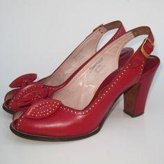 BEST Vintage 40s Dark Cherry Red Leather Peep Toe Cuban Heel Slingback Pin Up Girl High Heels 7. $215.00, via Etsy.