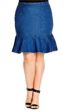 236b6faba56 Plus Size Denim Flippy Skirt Stretch Denim Skirt