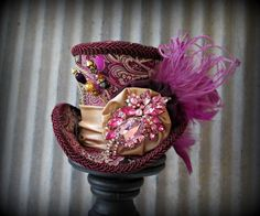 Fuchsia Gold Super Bling Mini Top Hat, Mini Mad Hatter Hat, Tea Party Hat, Alice in Wonderland Top hat, purple Top hat, Top hat Fascinator on Etsy, $62.00