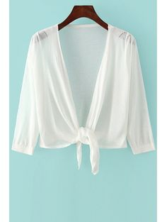 3 4 Sleeve Solid Color Knotted Cardigan #womensfashion #pinterestfashion #buy #fun#fashion