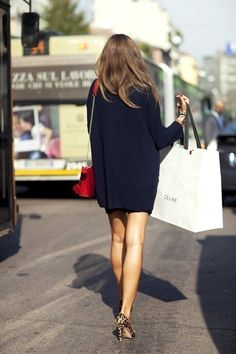 oversized sweater dress and leopard heels by Scott Schuman. #sartorialist #streetstyle