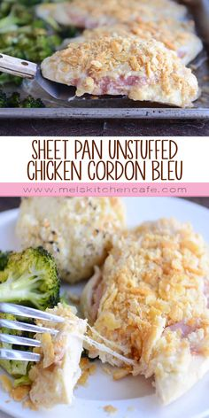sheet pan unstuffed chicken cordon bleu with roasted broccoli - Mels Kitchen Cafe