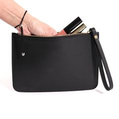 Italian Leather Clutch Bag with Wrist Strap in Black Black Clutch, Leather Clutch Bags, Italian Leather, Evening Bags, Going Out, Keys, Essentials, Purses, My Style