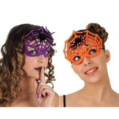 Mask Spider Web With The Spider - Orange Purple Megastore 247 Eye Masquerade for sale Orange And Purple, Masquerade, White Gloves, Spiders, Beauty, Streetwear, African, Babies, Eye