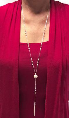 Sassy Pearl 'Y' Necklace