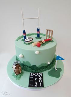 Sports cake - Rugby cake - Golf cake - Cricket cake - birthday cake by Sugar & Spice Gourmandise gifts https://www.facebook.com/SugarandSpiceGourmandise