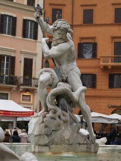 Rome, Italy: Piazza Navona, Fontana del Nettuno (Fountain of Neptune): Neptune spearing octopus (sculpture 19th century)