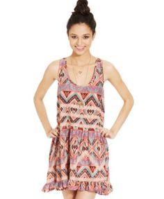 American Rag Printed Lace-Trim Dress