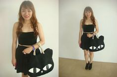 Cat Bag, Forever 21 Skirt, Cats, My Style, Skirts, Black, Gatos, Black People, Cat