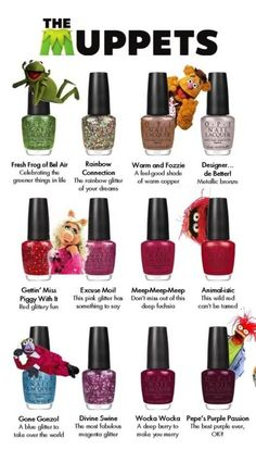 OPI Muppets nail polish collection – Christmas 2011 ~want these sooooooo bad! Opi Nail Polish, Opi Nails, Nail Polishes, Shellac, Cute Nails, Pretty Nails, Les Muppets, Essie, Opi Collections