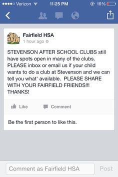 After school Clubs at Stevenson School #fairfieldhsa