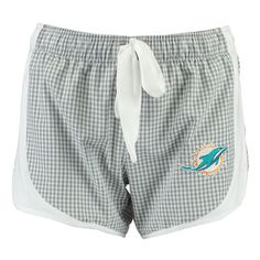 Women's Concepts Sport Gray Miami Dolphins Tradition Woven Gingham Sleep Shorts