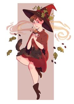 ◦ ✧ ☆ Beautiful witch flowing with the leaves. I love how she controls the leaves and obviously shows signs of loving plants. Credit to real artist, super unique! Pretty Art, Cute Art, Illustrations, Illustration Art, Wicca, Character Art, Character Design, Under Your Spell, Witch Art