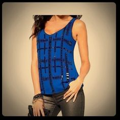 2x HPCache blue /purple accent tank 2xHP 11/14 New with tags. Blue chiffon tank, side zip, lined with chiffon over layer, black beaded cross accent throughout. Purchased on sale for $109 plus tax, tag is attached! Cache Tops Tank Tops