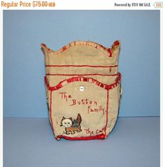 ON SALE Vintage Button Bag The Button Family and Cat Embroidered with Button Faces Drawstring with Pockets C 1920's Handmade Sewing Basket A by thenewenglandhuswife on Etsy