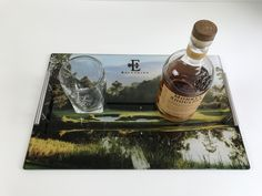 Personalized Barware makes for a great gift for the man in your life. Upload any image, scenery, event, or memory you want to be displayed on this beautiful unbreakable, dishwasher and food safe glass bar tray. Safe Glass, Glass Bar, Family Reunion Photos, Serving Trays With Handles, Dining Room Sideboard, Bar Tray, Chrome Handles, Wedding Anniversary Gifts, Display