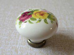 Ceramic Knobs / Kitchen Cabinet Knobs / Dresser Knobs Pulls / Drawer Pull Handles / Red Yellow Flower Rose Antique Brass Knob Handle A07