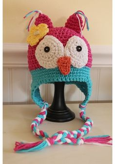 Owl hat all sizes and colors handmade crochet trendy cute and even for baby size $20.00
