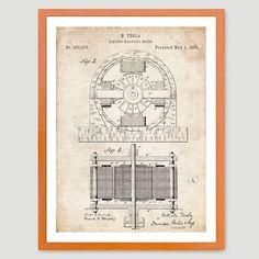 TESLA ELECTRIC MOTOR 1888 PATENT PRINT 18X24 POSTER INVENTOR GENIUS MODEL S CAR
