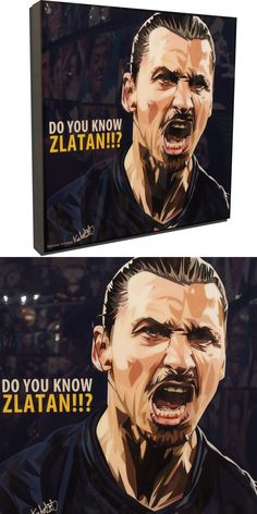"""Zlatan Ibrahimovic Paris Saint Germain Poster Plaque with Quote """"Do you know Zlatan?"""" Bringing a unique and artistic flair to pop culture. World Cup Draw, Pop Art Posters, Dark Blue Background, Nike Football, Paris Saint, Saint Germain, Playstation, Pop Culture, Quote"""