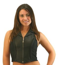 34.99 - Motorcycle Leather Girls Braided Halter With Front Zipper.