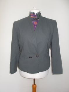 Vintage Jacques Vert Grey jacket 80s with matching blouse Size large 14 by…