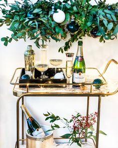 Holiday champagne bar cart