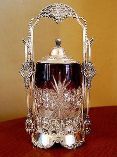 Victorian Antique Pickle Castor Ruby Tarentum Atlanta Crystal Jar Van Bergh s Z Red Glass, Glass Art, Vintage Silver, Antique Silver, Art Nouveau, Crystal Stemware, Pickle Jars, Cranberry Glass, Antique Glassware