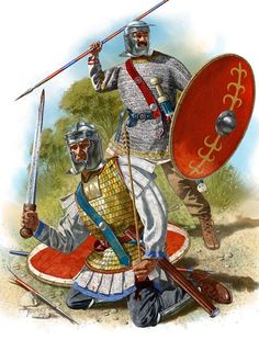 """John Shumate - Soldados romanos con yelmo tipo """"Niederbieber"""", 200-250 DC."""