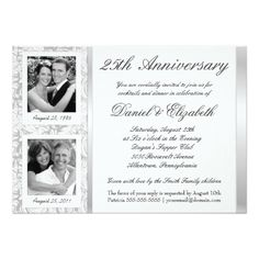 25th Wedding Anniversary Invitations 25th Anniversary - Photo Invitations - Then & Now