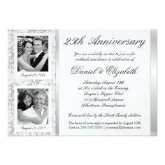 25th Wedding Anniversary Invitations 25th Anniversary - Photo Invitations - Then & Now
