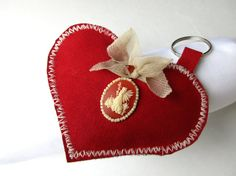 Red Heart Keychain in Fabric Red Cammeo by HARMONYHOURWATCHES