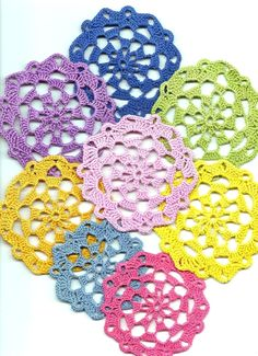 Blooming crochet flower doily - colourful doilies spring collection set of 8 £5.50
