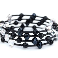 Black Crystal and Silver Beaded Memory Wire Bracelet by AMIdesigns,