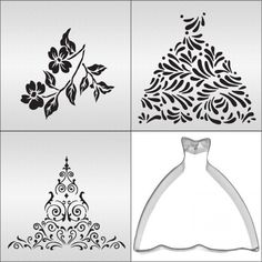 House Cookie Cutters and Stencil | Ball Gown Cookie Stencil Set