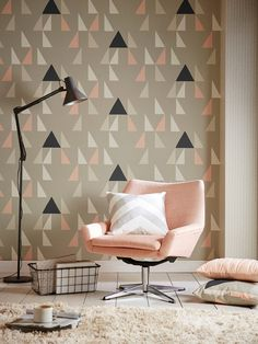 Shop for Wallpaper at Style Library: Modul by Scion. This graphic geometric wallpaper design features unevenly spaced triangles printed in bold colourw. Geometric Wallpaper Design, Graphic Wallpaper, Geometric Wall Art, Modern Wallpaper, Designer Wallpaper, Print Wallpaper, Wallpaper Ideas, Fabric Wallpaper, Geometric Shapes