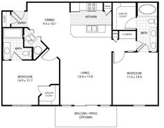 square house plans 40x40 | The Makayla plan has 3 bedrooms and 2 ...