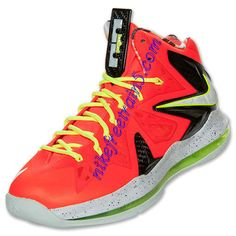 new style d4dec 701db Nike Lebron X PS Elite Mens Total Crimson Fiberglass Black Volt 579827 800