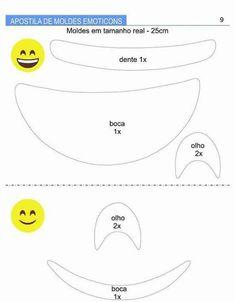 Apostila de Moldes de Emoticons  - Como Fazer Emoji Templates, Silhouette Curio Projects, Emoji Theme Party, Emoji Costume, Emoji Craft, Emoji Coloring Pages, Diy And Crafts, Crafts For Kids, Puzzle Pieces