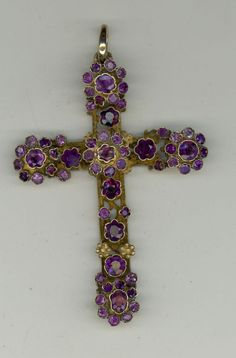 Large Antique Austro-Hungarian Genuine Amythest Silver Gilt Cross Pendant