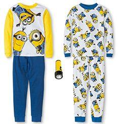 Despicable Me Minions Boys 4-Piece Long-Sleeve Cotton Pajama Set @ niftywarehouse.com