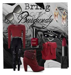 """""""Bring on the burgundy!"""" by tally-stew ❤ liked on Polyvore featuring WithChic, Design Lab, Glamorous, NARS Cosmetics, Emporio Armani and Max Factor"""