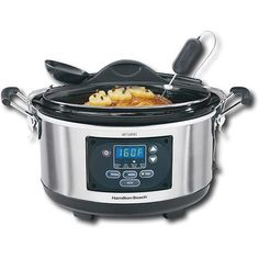 Hamilton Beach - Set & Forget Stay or Go 6-Quart Slow Cooker - Metallic - Larger Front
