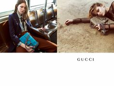 Gucci fall-winter 2015 campaign. Models Tessa Charlotte Bruinsma and Lia Pavlova take to the city streets and subways where the busy energy serves as a perfect backdrop to the Glen Luchford lensed images.