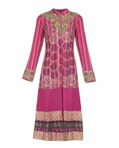 Raspberry Pink Printed Kurta Set with Floral Embellishments