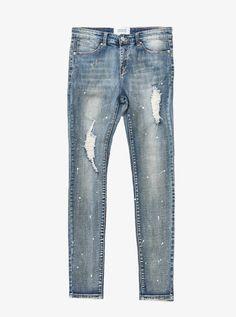 Medium Blue washed distressed paint splatter denim destroyed skinny fit jeans by profound aesthetic Love Jeans, Denim Jeans, Paint Splatter Jeans, Distressed Painting, Skinny Fit Jeans, How To Wear, Blue, Medium, Shorts