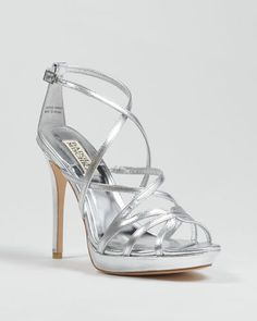 Badgley Mischka silver strappy shoes #2
