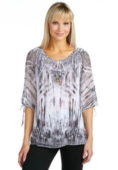 Sublimation Print Peasant Top Shirts & Blouses Cato Fashions